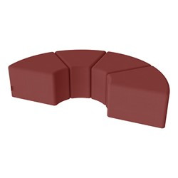 "Shapes Series II Vinyl Soft Seating - 12"" H Wedge Four-Pack - Burgundy Smooth Grain"