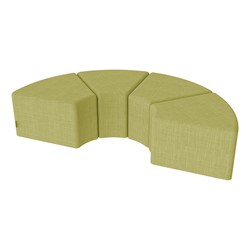 "Shapes Series II Vinyl Soft Seating - 12"" H Wedge Four-Pack - Green Crosshatch"