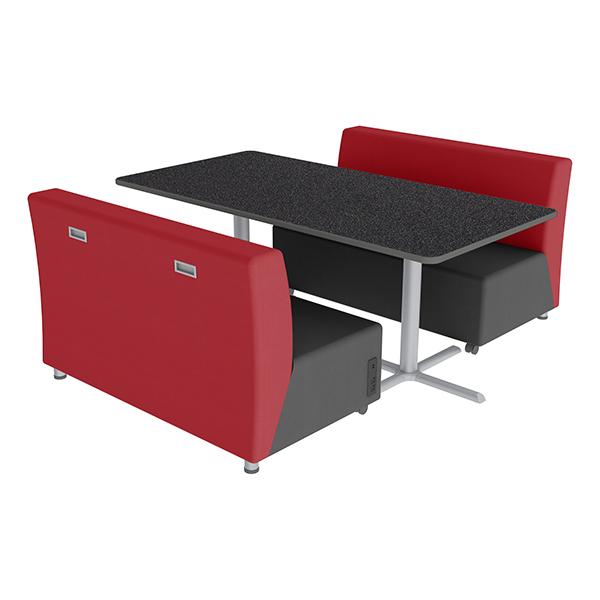 Shapes Series II Vinyl Soft Seating Sofa U0026 Café Table   Red Sofas W/  Graphite