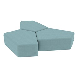 "Shapes Series II Vinyl Soft Seating - 12"" H CommunEDI Three-Pack - Blue Crosshatch"