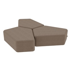 "Shapes Series II Vinyl Soft Seating - 12"" H CommunEDI Three-Pack - Brown Crosshatch"