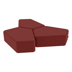 "Shapes Series II Vinyl Soft Seating - 12"" H CommunEDI Three-Pack - Burgundy Smooth Grain"