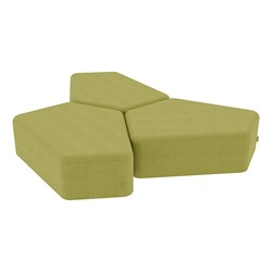 "Shapes Series II Vinyl Soft Seating - 12"" H CommunEDI Three-Pack - Green Crosshatch"