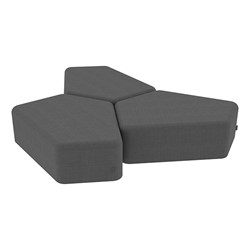 "Shapes Series II Vinyl Soft Seating - 12"" H CommunEDI Three-Pack - Gray Crosshatch"
