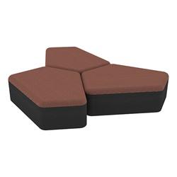 "Shapes Series II Designer Soft Seating - 12"" H CommunEDI Three-Pack - Brick/Black"