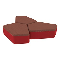 "Shapes Series II Designer Soft Seating - 12"" H CommunEDI Three-Pack - Brick/Red"