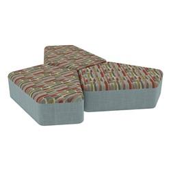 "Shapes Series II Designer Soft Seating - 12"" H CommunEDI Three-Pack - Confetti/Blue"