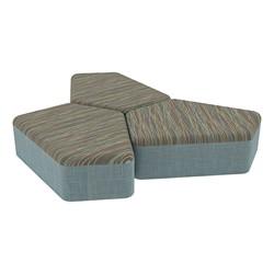 "Shapes Series II Designer Soft Seating - 12"" H CommunEDI Three-Pack - Pecan/Blue"
