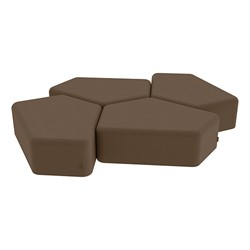 """Shapes Series II Vinyl Soft Seating - 12"""" H CommunEDI Four-Pack - Chocolate Smooth Grain"""