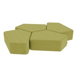 "Shapes Series II Vinyl Soft Seating - 12"" H CommunEDI Four-Pack - Green Crosshatch"