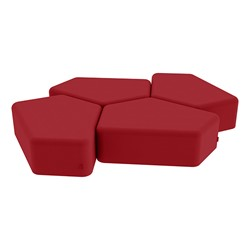 """Shapes Series II Vinyl Soft Seating - 12"""" H CommunEDI Four-Pack - Red Smooth Grain"""
