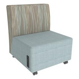 Shapes Series II Designer Soft Seating Chair - Blue Crosshatch Seat & Pecan Back