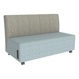 Shapes Series II Designer Soft Seating Sofa - Blue Crosshatch Seat & Pecan Back