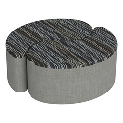 """Shapes Series II Designer Soft Seating - 12"""" H Teardrop Pack of Two - Peppercorn/Gray"""