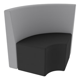 Shapes Series II Structured Vinyl Soft Seating - Quarter Round - Gray Back & Black Seat