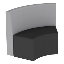 Shapes Series II Structured Vinyl Soft Seating - S-Curve - Gray Back & Black Seat