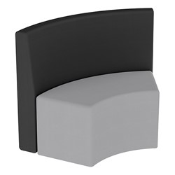 Shapes Series II Structured Vinyl Soft Seating - S-Curve - Black Back & Gray Seat