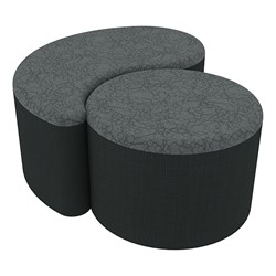 "Shapes Series II Designer Soft Seating - 12"" H Cylinder & 12"" H Teardrop (Pack of Two) - Atomic/Navy"