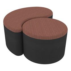 "Shapes Series II Designer Soft Seating - 12"" H Cylinder & 12"" H Teardrop (Pack of Two) - Brick/Black"