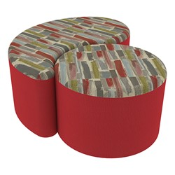 "Shapes Series II Designer Soft Seating - 12"" H Cylinder & 12"" H Teardrop (Pack of Two) - Confetti/Red"