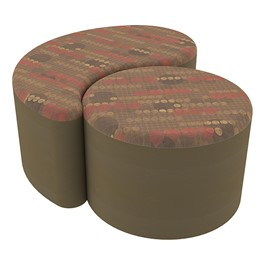 "Shapes Series II Designer Soft Seating - 12"" H Cylinder & 12\"" H Teardrop (Pack of Two) - Dark Latte/Chocolate"
