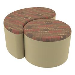 "Shapes Series II Designer Soft Seating - 12"" H Cylinder & 12"" H Teardrop (Pack of Two) - Dark Latte/Sand"