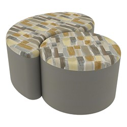 "Shapes Series II Designer Soft Seating - 12"" H Cylinder & 12"" H Teardrop (Pack of Two) - Desert/Taupe"