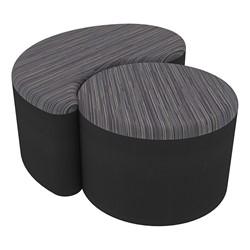 "Shapes Series II Designer Soft Seating - 12"" H Cylinder & 12"" H Teardrop (Pack of Two) - Pepper/Black"