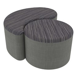 "Shapes Series II Designer Soft Seating - 12"" H Cylinder & 12"" H Teardrop (Pack of Two) - Pepper/Gray"