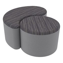 "Shapes Series II Designer Soft Seating - 12"" H Cylinder & 12"" H Teardrop (Pack of Two) - Pepper/Light Gray"