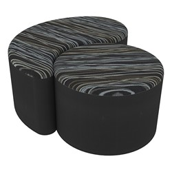 "Shapes Series II Designer Soft Seating - 12"" H Cylinder & 12"" H Teardrop (Pack of Two) - Peppercorn/Black"