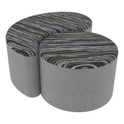 "Shapes Series II Designer Soft Seating - 12"" H Cylinder & 12"" H Teardrop (Pack of Two) - Peppercorn/Gray"