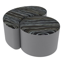 "Shapes Series II Designer Soft Seating - 12"" H Cylinder & 12"" H Teardrop (Pack of Two) - Peppercorn/Light Gray"