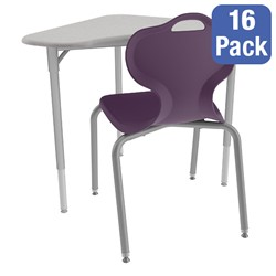 Boomerang Collaborative Desk w/o Wire Box and 18-Inch Profile Series School Chair Set – 16 Desks/Chairs