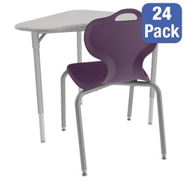 Boomerang Collaborative Desk w/o Wire Box and 18-Inch Profile Series School Chair Set – 24 Desks/Chairs