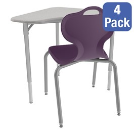 Boomerang Collaborative Desk w/o Wire Box and 18-Inch Profile Series School Chair Set – Four Desks/Chairs