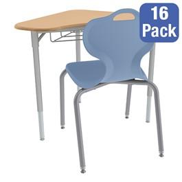 Boomerang Collaborative Desk w/ Wire Box and 18-Inch Profile Series School Chair Set – 16 Desks/Chairs