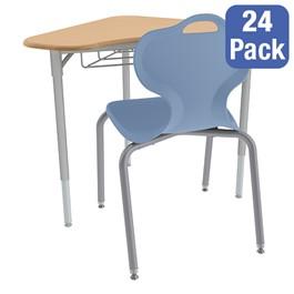 Boomerang Collaborative Desk w/ Wire Box and 18-Inch Profile Series School Chair Set – 24 Desks/Chairs