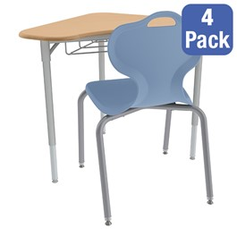 Boomerang Collaborative Desk w/ Wire Box and 18-Inch Profile Series School Chair Set – Four Desks/Chairs