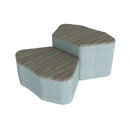 Shapes Series II Designer Soft Seating - Petal - Pecan/Blue