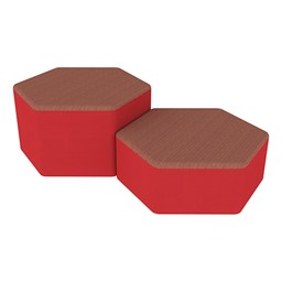Shapes Series II Designer Soft Seating - Hexagon - Brick/Red