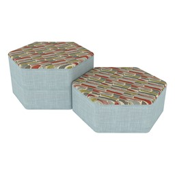 Shapes Series II Designer Soft Seating - Hexagon - Confetti/Blue