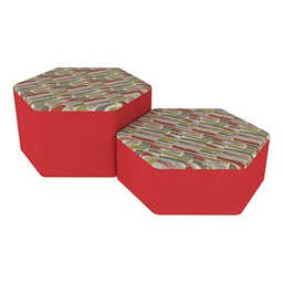 Shapes Series II Designer Soft Seating - Hexagon - Confetti/Red