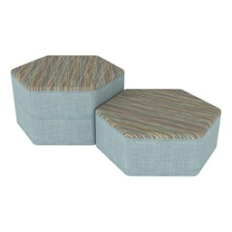 Shapes Series II Designer Soft Seating - Hexagon - Pecan/Blue