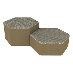 Shapes Series II Designer Soft Seating - Hexagon - Pecan/Chocolate