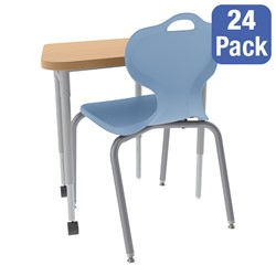 Trapezoid Collaborative Desk and 18-Inch Profile Series School Chair Set - 24 Desks/Chairs
