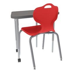 Trapezoid Collaborative Desk and 18-Inch Profile Series School Chair Set