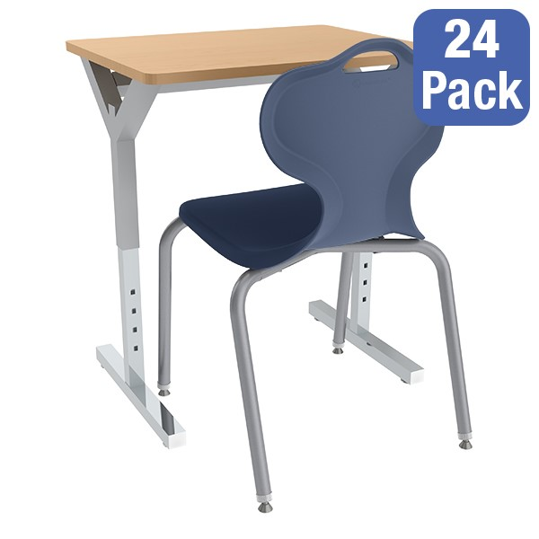 Adjustable-Height Y-Frame Desk and 18-Inch Profile Series School Chair Set - 24 Desks/Chairs