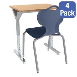 Adjustable-Height Y-Frame Desk and 18-Inch Profile Series School Chair Set - Four Desks/Chairs