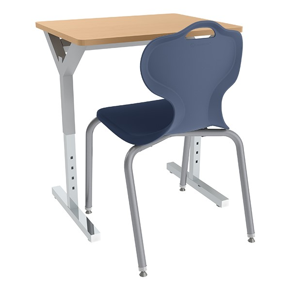 Adjustable-Height Y-Frame Desk and 18-Inch Profile Series School Chair Set